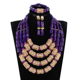 Beaded statement necklace - 4 Layers Purple Nigerian Real Coral Beads Jewelry Sets Bridal Statement Necklace Set Wedding