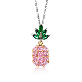 Pink statement necklaces - Inlay Crystal Yellow And Pink Zircon Pineapple Pendant Necklace Fashion Women Clavicle Chain Long