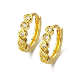 1 ct diamond earrings - Cute Slim 925 Sterling Silver Gold Color S Infinity CZ Circle Small Loop Huggie Hoop Earrings For