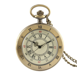 Pocket watch necklace - Antique Retro Transparent Brown Men Women Quartz Pocket Watch Cover Necklace Chain Graceful Pendant
