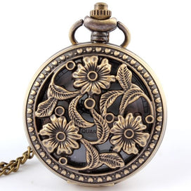Pocket watch necklace - Antique Bronze Flower Pocket Watch Necklace Pendant With Chian Womens Gifts Pocket Fob Watches