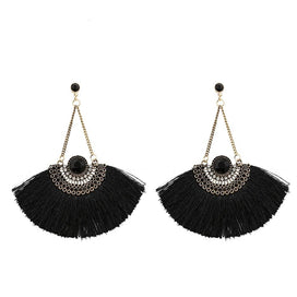 Black tassel earrings - Black Tassel Earrings For Women Vintage Beaded Long Fringe Earring Antique Gold Fa Shaped Earring