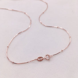 Sterling silver necklace chain - 35-80cm Thin 925 Sterling Silver Rose Gold Color Snake Beads Chain Necklaces For Women Girls