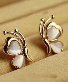 Stud earrings for women - 1 Pair Fashion Design Butterfly White Stone Golden Plated Wing Ear Stud Earrings For Women