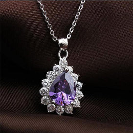 Luxury Cross Purple Amethyst CZ White Gold Filled Pendant Necklace Chain Gift