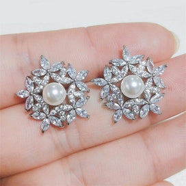 Cubic zirconia stud earrings - Classic Cubic Zirconia Flower Sweet Bridal Jewelry Fashion Earrings for Women Wedding Dinner