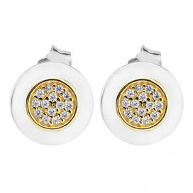 14k gold stud earrings - 925 Sterling Silver & 14K Gold Classic Signature Stud Earrings For Women Jewelry With Clear CZ A
