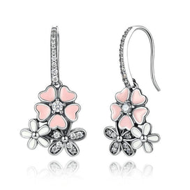Cubic zirconia drop earrings - 925 Sterling Silver Pink Flower Poetic Daisy Cherry Blossom Drop Earrings With Pearl Back