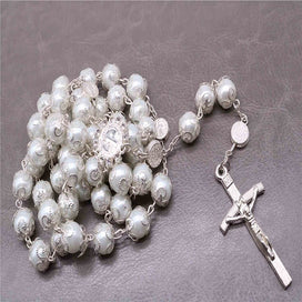 Cross necklace for women - 10mm Rosary Beads Necklace / Catholic Rosary / Silver Crystal Rosary / Silver Rosary
