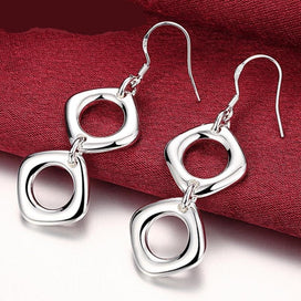 Sterling silver drop earrings - 925 Silver Jewelry Simple Double Square Drop Earrings For Women Wedding Jewelry