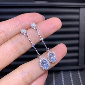 Sterling silver drop earrings - Natural Aquamarine Gemstone Simple Long Chain Drop Earrings For Women Real 925 Sterling Charm