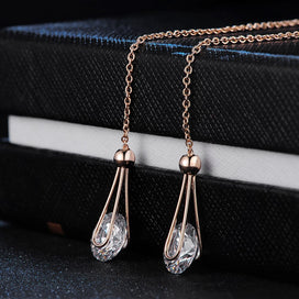 Cubic zirconia drop earrings - 2 Carat AAA+Cubic Zirconia Drop/Dangle Line Earrings Silver/Rose Gold Color Long Chain Ear For