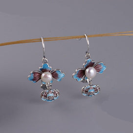 Sterling silver drop earrings - 925 Sterling Silver Cloisonné-style Peony Flower & Imitation Pearl Drop Earrings For Girl