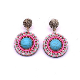 Leather drop earrings - Earrings Bohemian Style Colored Earrings For Women Charm Leather Round Stone Earrings Alloy Natural