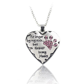 "Pink crystal necklace - ""no Longer Be My Side But Forever In My Heart"" Pink White Silver Crystal Cats Dogs Paws"