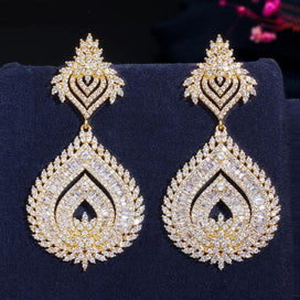 Cubic zirconia dangle earrings - 585 Gold Color African Nigerian Cubic Zirconia Big Long Naija Wedding Party Women Dress