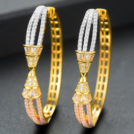 Cubic zirconia hoop earrings - 3 Tone AAA Cubic Zircon Statement Big Hoop Earrings For Women Wedding Dubai Bridal Square Hoop