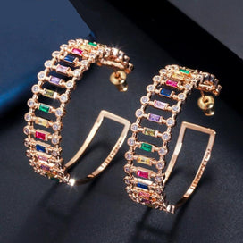 Cubic zirconia hoop earrings - Big Circle Round Multi Rainbow Color Cubic Zirconia Crystal Gold Hoop Earrings Ladies Jewelry