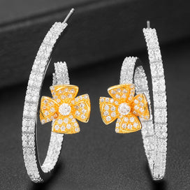 Cubic zirconia hoop earrings - 40mm Flower Statement Hoop Earring For Women Wedding Geometry Full Mirco Cubic Zircon Nigerian