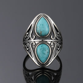 Sterling silver and turquoise ring - 925 Sterling Silver Rings Original Design Vintage Natural Turquoise Ring For Women Men