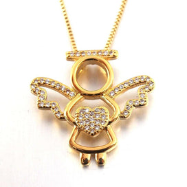 Charm necklace chain - CZ Angel Charm Pendant Necklace Jewelry Gold Chain Zircon Love Heart Necklace Fashion Christmas Gift