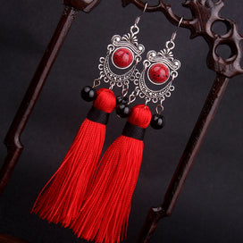 Fringe tassel earrings - Big Star Traditional Miao Silver Fringes Tassel Dangle Earrings Red Wind Ethnic Earrings Jewelry Red