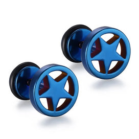 Stainless steel stud earrings - 316L Stainless Steel Double Sided Round Star Stud Earrings Men Women Geometric Gothic Blue