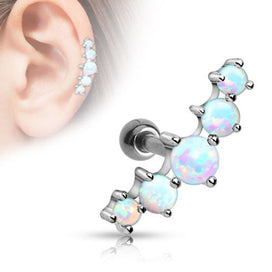 Stainless steel stud earrings - 1pc Surgical Steel OPal Ball Tragus Cartilage Barbell Earring Ear Bar Stud Ring For Women