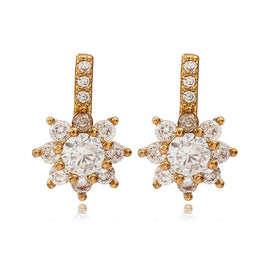 Cubic zirconia stud earrings - 10 Pairs/lot Gold Silver Full Rhinestone Snowflake Stud Earrings Crystal Snow Flower Earring