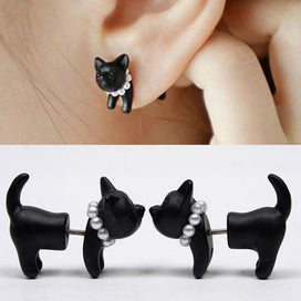 1 Piece Black Stereoscopic 3D Cute Cat Stud Earrings Handmade for Women Lovely Pearl Piercing Ear Studs Kitten Impalement