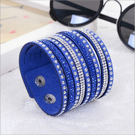 Womens Simple Cuff Wristband Leather Crystal Wrap Punk Bangle Rhinestone Bracelet Jewelry Gift Party