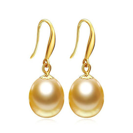 Pearl earrings gold - 18K Gold Earrings Gold Pearl Jewelry Antiallergic 18K Real Gold Drop Earrings For Women Fashion Long