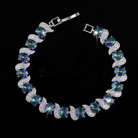Charm bracelets for girls - CZ Jewelry White Gold Color Micro Pave Cubic Zirconia Connected Mystic Blue Bracelets