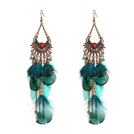Feather drop earrings - 3 Colors Feather Earrings Fashion Women Statement Tassel Earrings For Women Girl Party Stud Earring