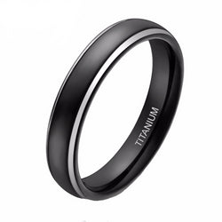 Titanium rings for women - Women's 4mm Black Titanium Ring High Polished Plated Dome Two Tone Wedding Band Engagement