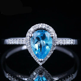 Anniversary rings for her - Jewelry 5x7mm Pear 0.9ct Blue Topaz & Pave 0.15ct Diamond Solid 10K White Gold Wedding Fine