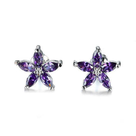 Cubic zirconia stud earrings - 925 Sterling Silver Filled Purple CZ Stud Earrings For Women Charming Star Birthstone Jewelry