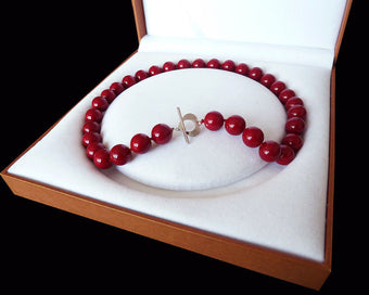 Red pearl necklace - Huge 12mm Genuine South Sea Coral Red Shell Pearl Necklace Heart Clasp