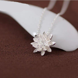 Lotus flower necklace - 925 Sterling Silver Lotus Flower Necklaces & Pendants For Women Fashion Sterling Silver Jewelry
