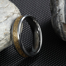 Celtic knot ring - 6MM Women Tungsten Carbide Ring Wedding Band Gold Celtic Dragon Inlay Polished Finish Edge Fashion Jewelry