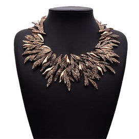 Rhinestone statement necklace - Bohemia Vintage Rhinestone Necklace Ethnic Statement Necklace Metal Leaves Choker Maxi Women