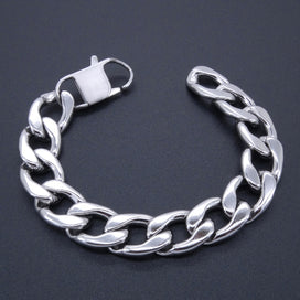 "Cuban link bracelet - Bracelet Curb Cuban Chain 100% Stainless Steel Bracelet 15 MM Width 8"" Inches Length Silver Color"