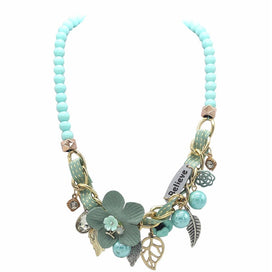 Acrylic bead necklace - Accessories Nice Flower Leaf Believe Pendant Necklace Woman Rope Prepared Crystal Maxi Beads Chain