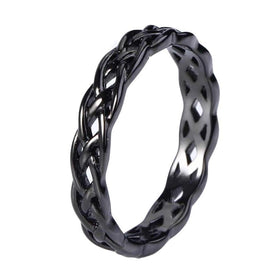Celtic knot ring - 4mm Black 925 Sterling Silver Jewelry Celtic Knot Ring Women Eternity Wedding Engagement Band Fashion