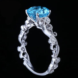 Anniversary rings for her - Art Deco Solid 10K White Gold Prong 7MM Round Shape Blue Topaz & Pave Natural Diamonds Ring