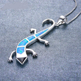 Blue opal necklace - 925 Sterling Silver Filled Animal Choker Blue/White/Orange Fire Opal Cute Lizard Pendant Necklaces For