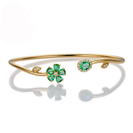 Charm bracelets for girls - 0.94ctw Natural Emerald Pave Diamond 18K Yellow Gold Gemstone Bracelet