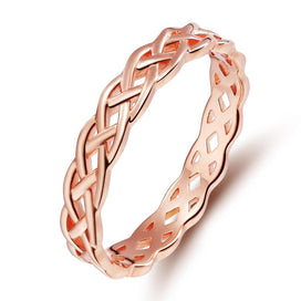 Celtic knot ring - 4mm Rose Gold 925 Sterling Silver Rings Women Celtic Knot Eternity Engagement Wedding Band Rings For Women