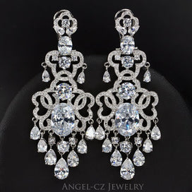 Bridal chandelier earrings - European Bridal Chandelier Drop Long Earrings Dark Blue Cubic Zirconia Vintage Women Large