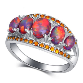 3d72283746 Birthday gift orange Fire Opal orange crystal Fashion Jewelry for Women  Silver Rings USA Size